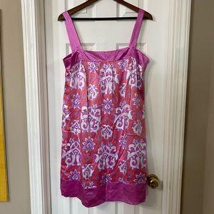 INC Pink 70s Pattern Satiny Dress Size 14